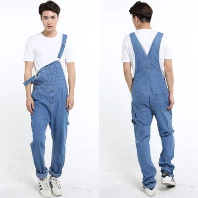 Fashion casual loose denim overalls Men Large size 46 cargo pants Male jeans jumpsuits Spring vintage sexy denim Trousers 062909 new fashion reminisced men vintage trousers casual jeans festa junina loose plus size overalls zipper denim jumpsuit men pants