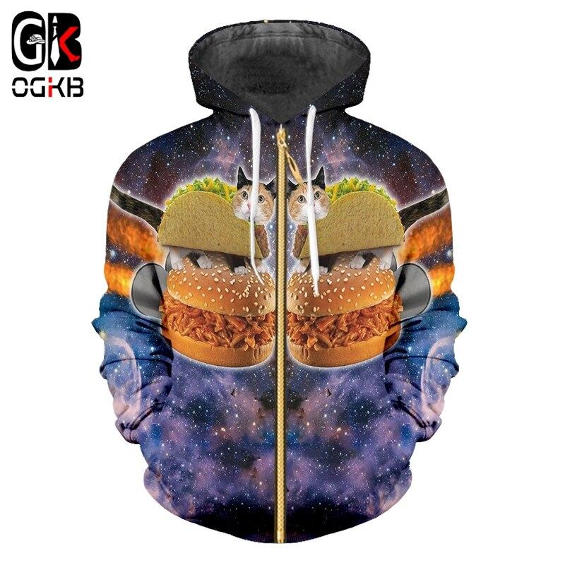 OGKB Women/Men's Lovely Cat Cardigan Sweatshirts Print Galaxy Space Zip Hoodie Man Casual Slim Fit Pocket Sportswear Jacket Coat