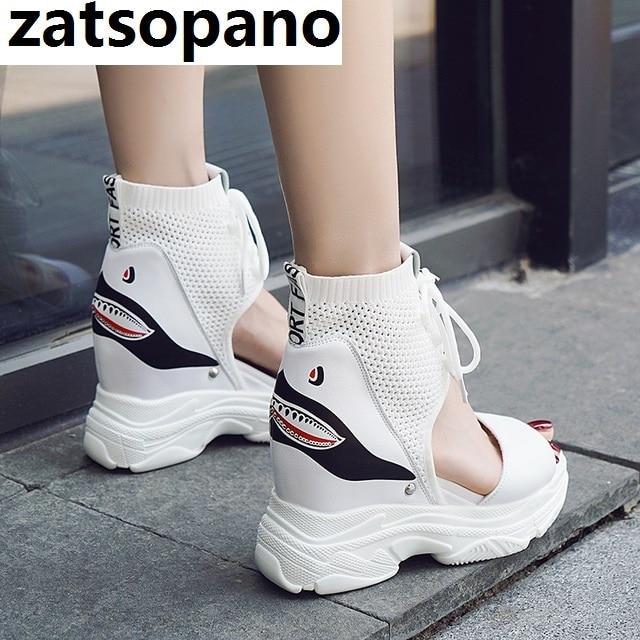 Ayakk.'ten Yüksek Topuklular'de 8 cm Ayakkabı Kadın Sandalet Çizme Platformu 2019 Kadın Baba Ayakkabı Rahat Yaz Sandalet Kama Tıknaz Yüksek Topuk Sandal Roma ayak bileği Dantel'da  Grup 1