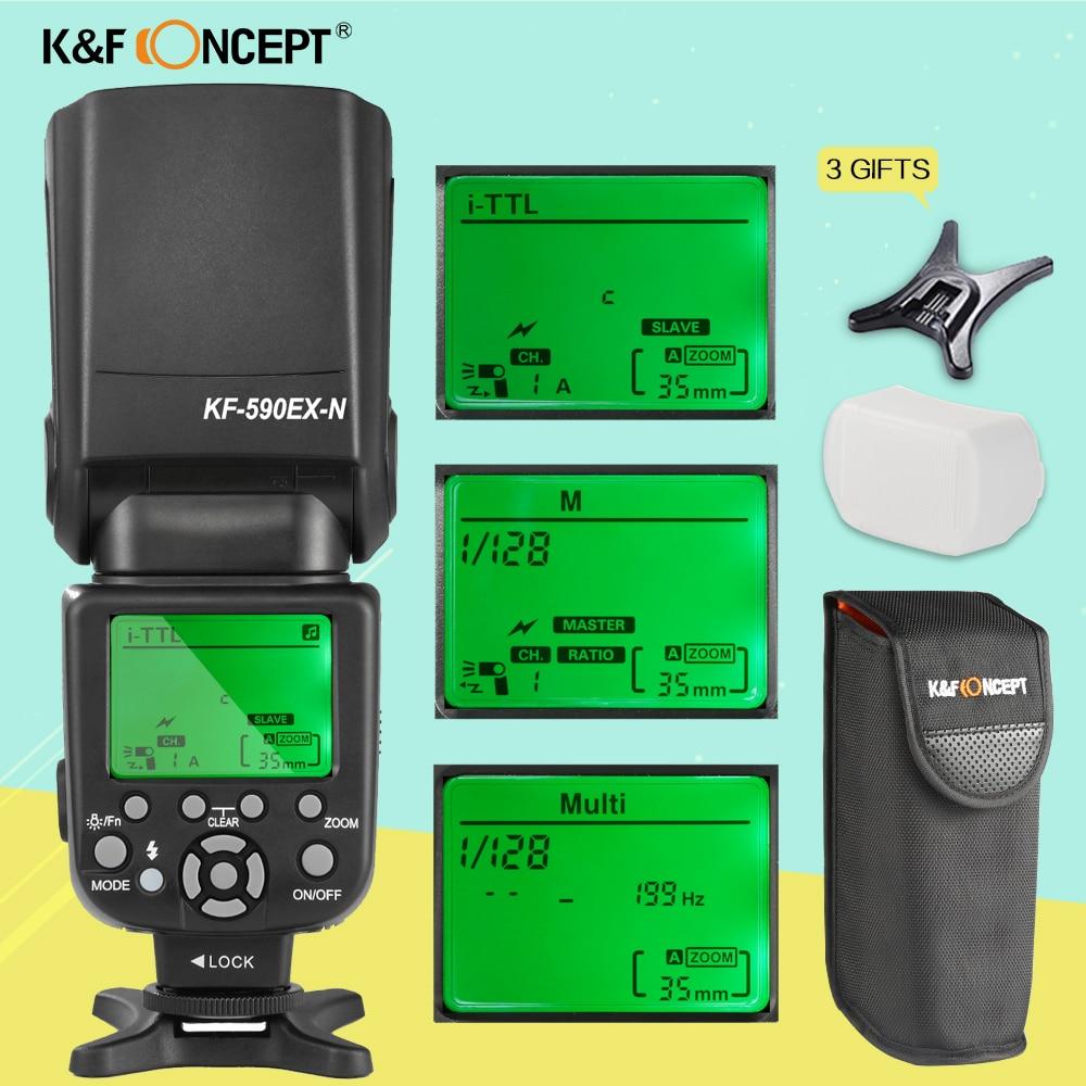 K&F CONCEPT KF590EX-N i-TTL Flash Speedlight Speedlite for Nikon D3300 D750 Camera With Free Bounce Diffuser PK Yongnuo YN560IV yongnuo yn 565ex n flash speedlite yn565ex n i ttl light for nikon dslr camera or pixel vertax d17 battery grip for nikon d500