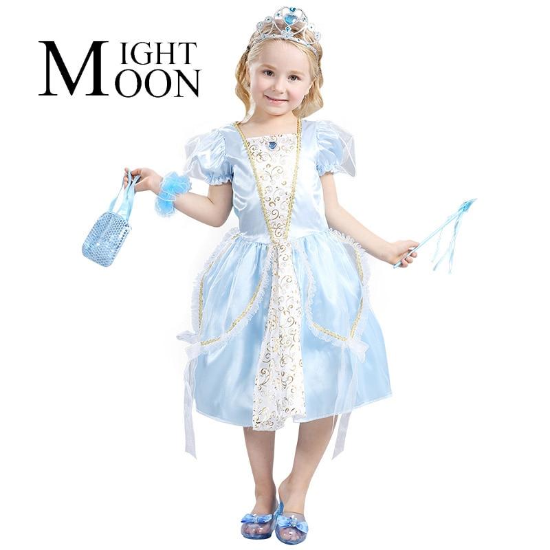 MOONIGHT New Girls Princess Party Dresses Kids Girl Cinderella Cosplay Costume Clothing Halloween Costume