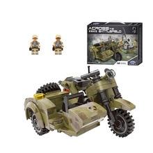купить Xingbao Military Motorcycle model building blocks military war figure bricks Compatible With  toys children boy gift дешево