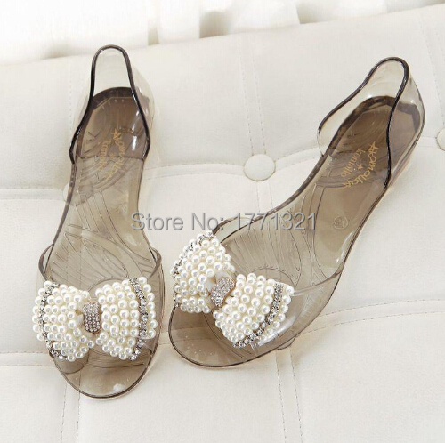 260df93790a7c Melissa Jelly shoes with black and white pearl crystal rhinestone bow spell  color flat sandals open toe shoes Women flat sandals-in Women s Sandals  from ...
