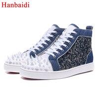 Hanbaidi Мода сетки воздуха Повседневная Мужская обувь роскошные джинсовые заклепки Studed на шнуровке мужские лоферы ВПП наряд Туфли без каблуко