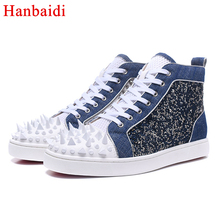 Hanbaidi Moda Mens Air Mesh Sapatos Casuais Denim De Luxo Rebites Studed lace Up Mens Laofers Runway Roupa Flats Tenis masculino