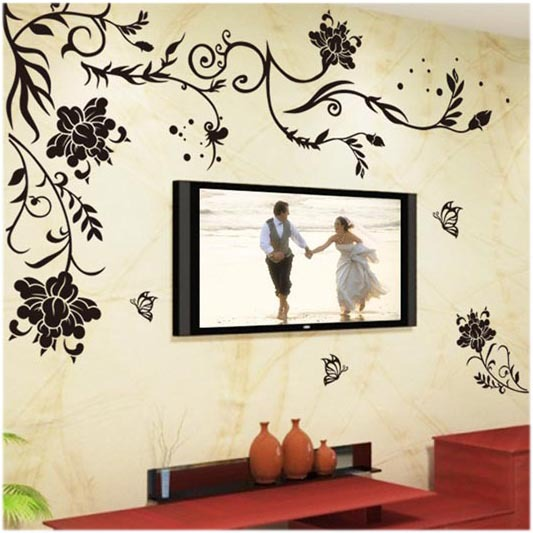 the butterfly tracery wall stickers the sitting room tv setting