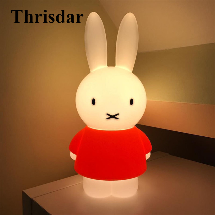 Thrisdar 45CM Rabbit Led Night light Dimmable Baby bedroom feeding lamp Cartoon Gift Lamp For Valentines Day Birthday Christmas
