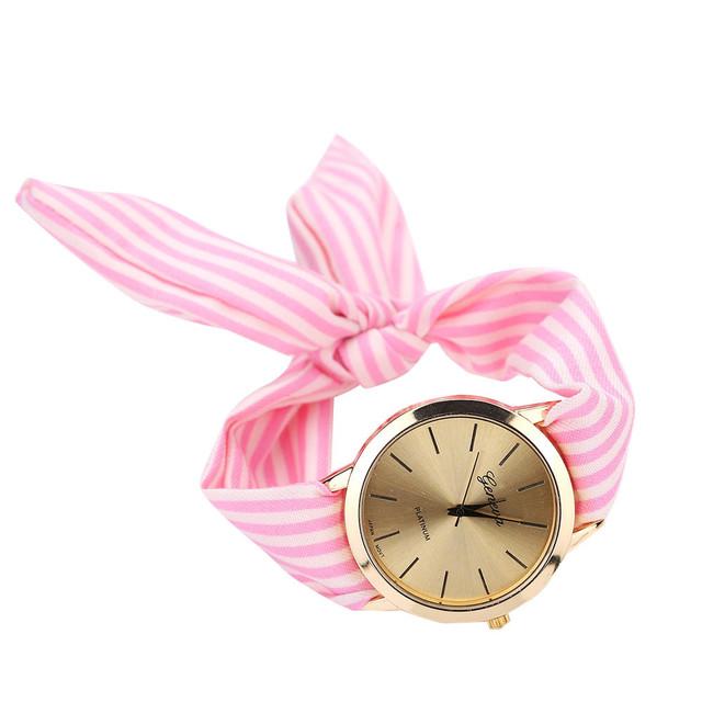 Floral Women's stripe Cloth Quartz Dress Bracelet Watch