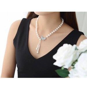 Image 3 - Süßwasser perle perlen halskette 925 silber schmuck, Echt perle festival halskette frauen quaste schmuck schmetterling