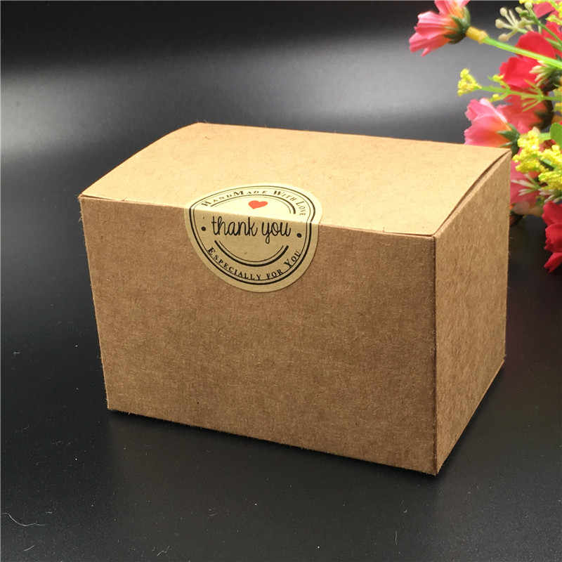 10Pcs/Lot Rectangular Paper Box With Free Sticker Various Shape Blank Brown Garment Goods Package Box Paper Cases Big Containing