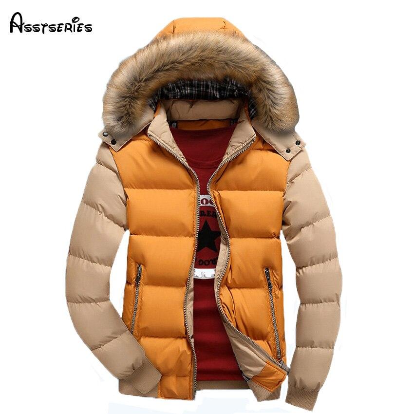 Бесплатная доставка для мужчин зимняя куртка пуховик пальто с меховой воротник плюс размеры M-3XL парка 80