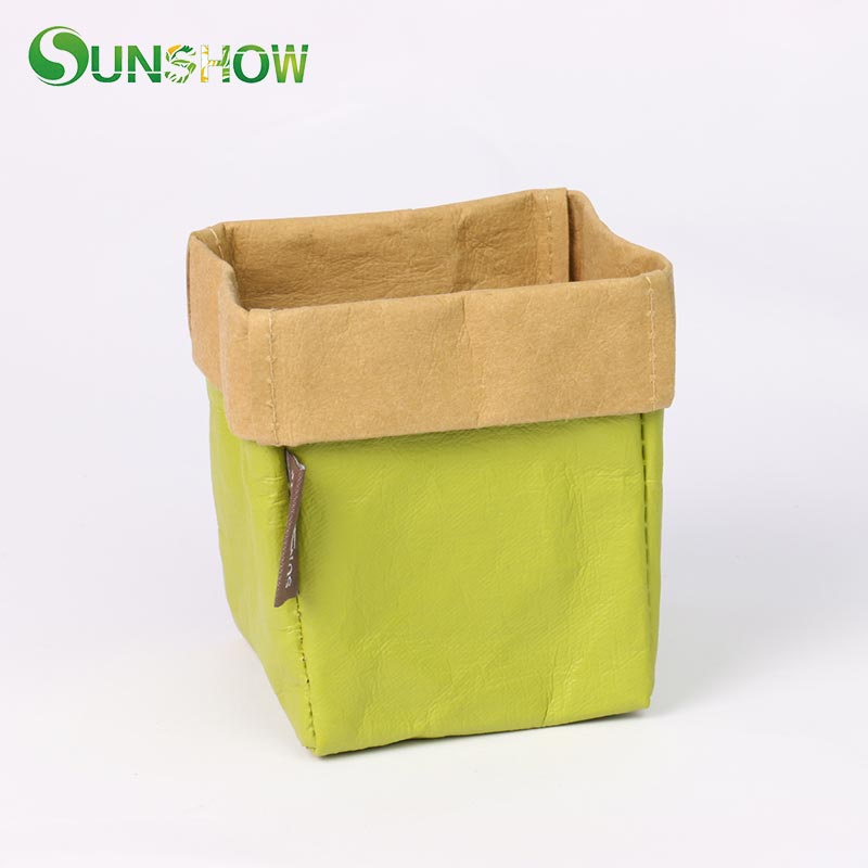 Kraft Paper Storage Bags Washable Plant Vegetable Grow Bag Flowerpot Cover Baby Clothing Toy Organizer Home Storage Organization