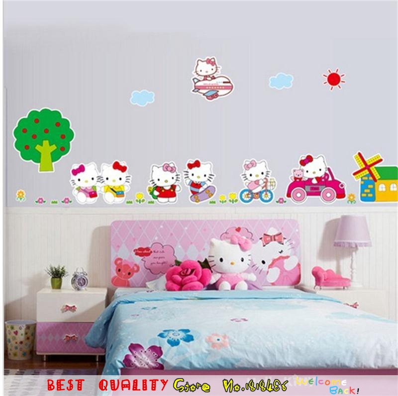 Dijual Hot Pink Hello Kitty Cat Stiker Dinding Diy Dekorasi