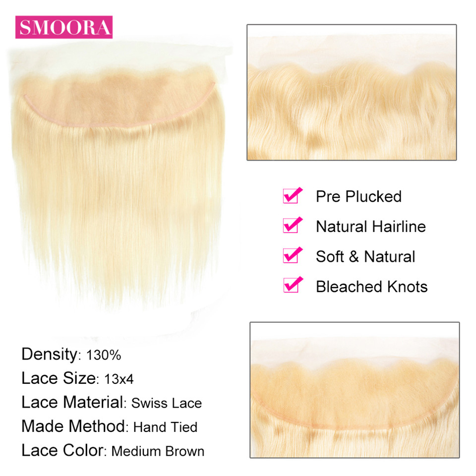 613 Blonde Lace Frontal Closure Ear to Ear with Baby Hair Frontal 13*4 inch Brazilian Non Remy Straight Human Hair-in Closures from Hair Extensions & Wigs    3
