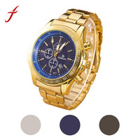 Feitong New Men Stainless Steel Watch Luxury Brand Gold Plated Three Eyes Analog Quartz Movement Wrist
