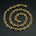 Vintage Men Jewelry Gold Necklace Wholesale, New Gothic Gold Plated 7 MM Chunky Curb Cuban Link Chain Necklace
