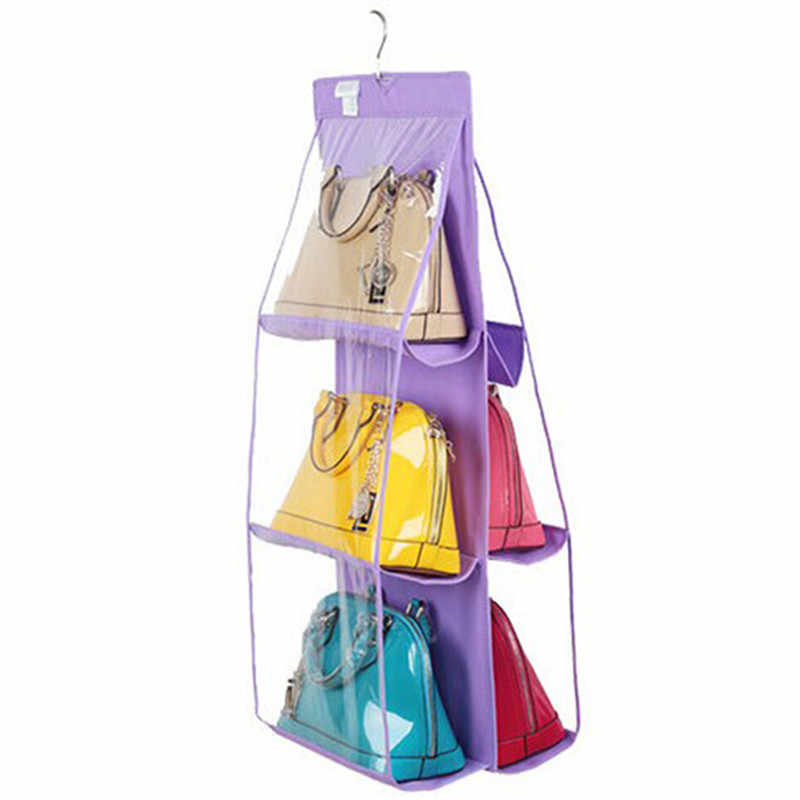 New 6 Pocket Transparent PVC Storage Bag Organizador Wardrobe Closet Pouch Hanging Purse Organiser Washable Handbag GI642098