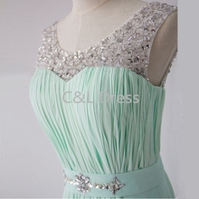 Mint Green Chiffon Simple Bridesmaid Prom Dress V Back Sheer Beading A-line Long Prom Dresses Lace-up Bridesmaid Dress