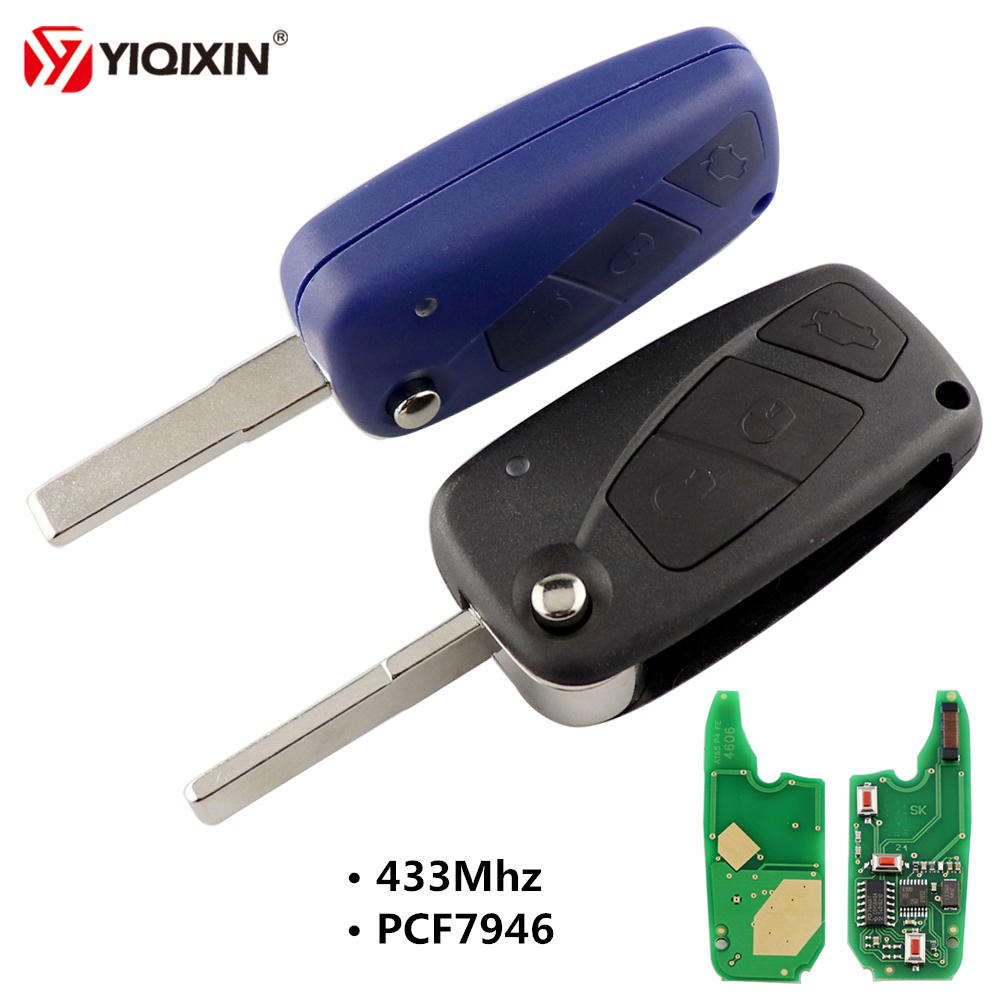 YIQIXIN 3 Button Flip Folding Remote Car Key 433Mhz PCF7946 Chip For Fiat 500 Panda Idea Punto Stilo Ducato