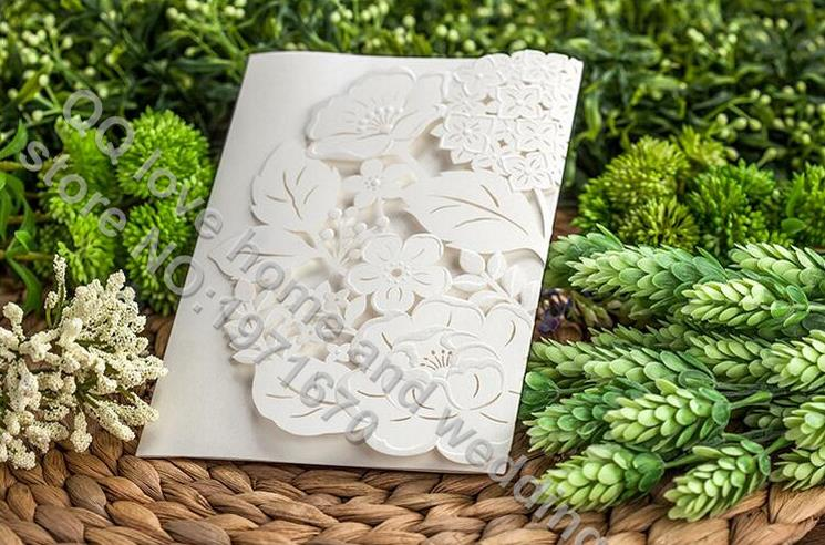 unidslote flor laser cut de boda simple de la boda tarjeta