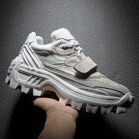 Hip Hop Mens chunky Sneakers hook loop Casual Shoes Tenis Sapato Masculino Retro high Platform Sneakers Basket Man Walking Shoes
