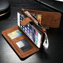 2017 Ретро сложенном кошелек чехол для iPhone 7 6 6 S плюс 5 5S SE 2 в 1 второй слой Кожаный чехол для iPhone 6S Flip Стенд Сумка