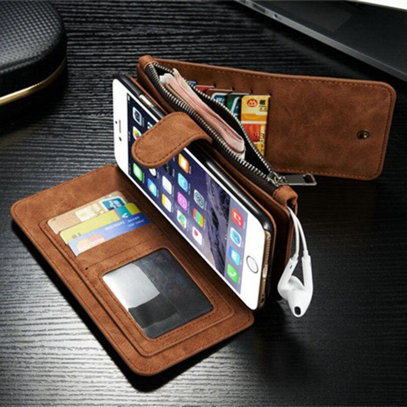 bilder für 2017 Retro Gefaltete Brieftasche Fall für iPhone 7 6 6 S Plus 5 5 S SE 2 in 1 Zweite Schicht Ledertasche für iphone6s Flip Stand tasche