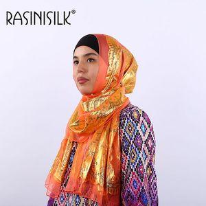 Image 1 - Seda jacquard cachecol xale mulher islâmica hijab muçulmano amoreira seda hijab étnica ultraleve foulard lenço acessórios femininos
