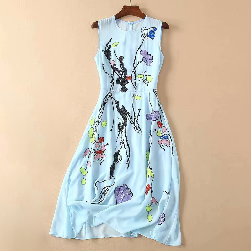 Red RoosaRosee Runway New Summer Women Vestidos 2019 Sequin Light Blue Sleeveless Midi Dresses Elegant Robe