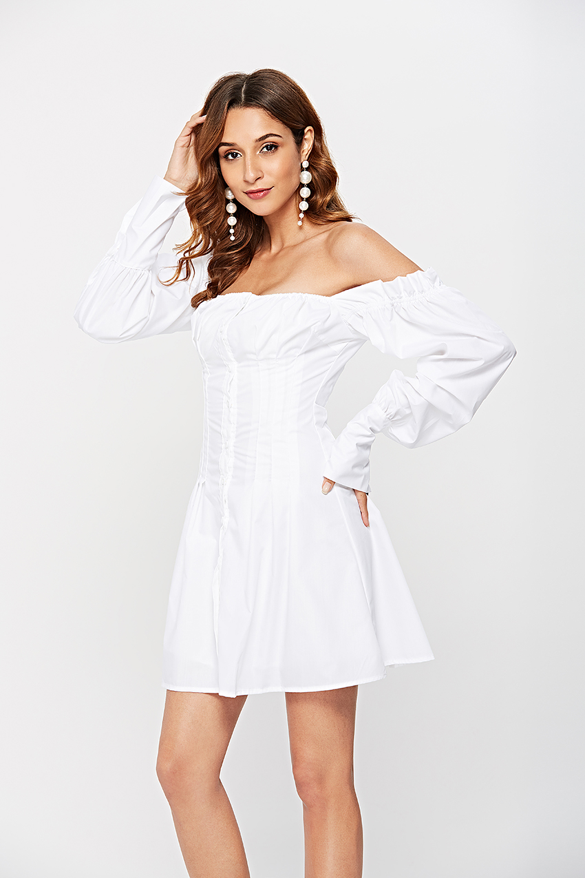 HTB1qEWsQhnaK1RjSZFBq6AW7VXag - OOTN Sexy Off Shoulder White Tunic Dress Pleated Summer Women Long Sleeve Shirt Dress Female Ruffle Party Mini Dresses Elegant
