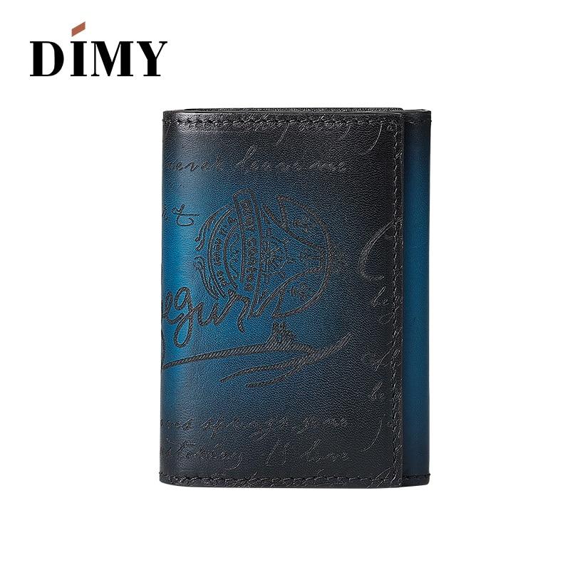 Dimy sac accessoires hommes portefeuille affaires porte-carte Case hommes vache en cuir véritable Vintage lettre porte-monnaie carte de crédit Hoder