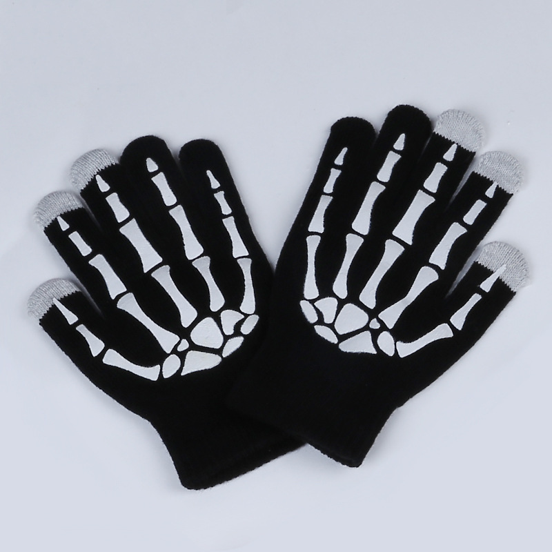 New Magic Touch Screen Bone Gloves Halloween Horror Skull Claw Bone Skeleton Goth Full Gloves Women Men Winter Driving