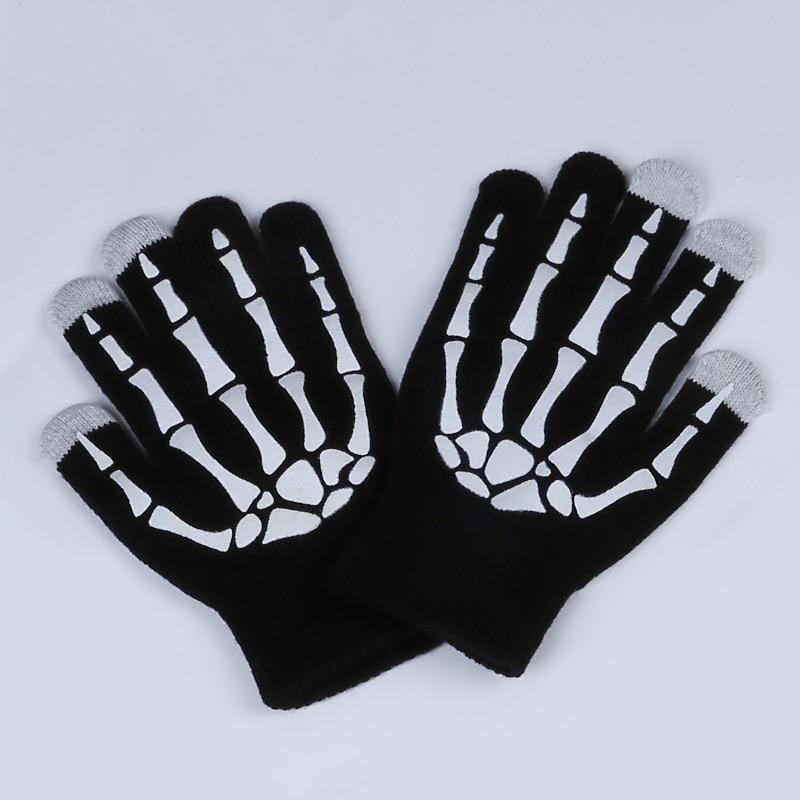 New Magic Touch Screen Bone Gloves Halloween Horror Skull Claw Bone Skeleton Goth Full Gloves Women Men Winter Driving