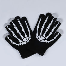 New Magic Touch Screen bone Guanti di Halloween Horror Skull Claw Scheletro Goth Guanti Pieni di donne degli uomini di inverno di guida(China)