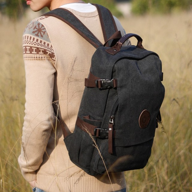 Unisex s Retro Style outdoor Canvas Backpack Woman Casual Travel Canvas  Laptop Backpack 15.6
