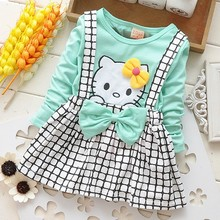 2016 Spring Summer New KT Cart Baby Girls Dress Long Sleeve Girl Princess Kid Party Clothing Strap Plaid