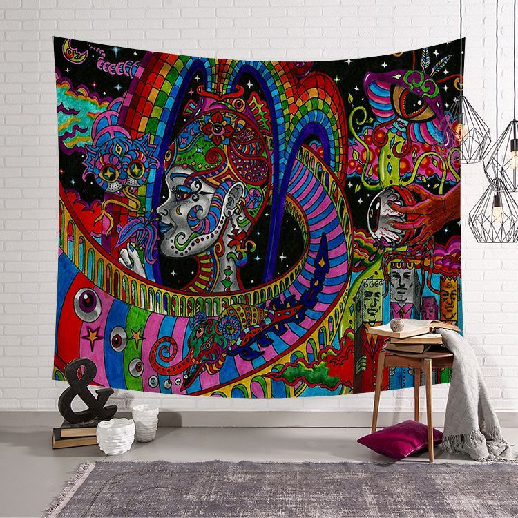 Image 3 - CAMMITEVER Abstract Colorful Painting Large Tapestry Wall Hanging Beach Towel Polyester Thin Blanket Yoga Shawl Mat-in Tapestry from Home & Garden