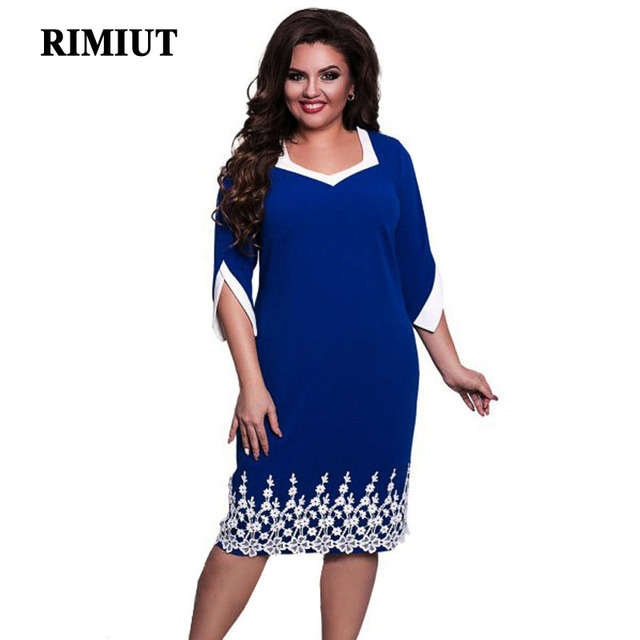 Rimiut 2018 Sexy Summer Solid Woman Elegant Party Lace Dress For Fat MM  Plus Size Women Clothing Big Size Loose Dress 0d350746528e