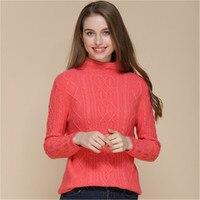 100% козья кашемир толстый витой Женские Вязаные пуловер свитер половина высокий воротник красный арбуз 4 вида цветов S 2XL розничная продажа м