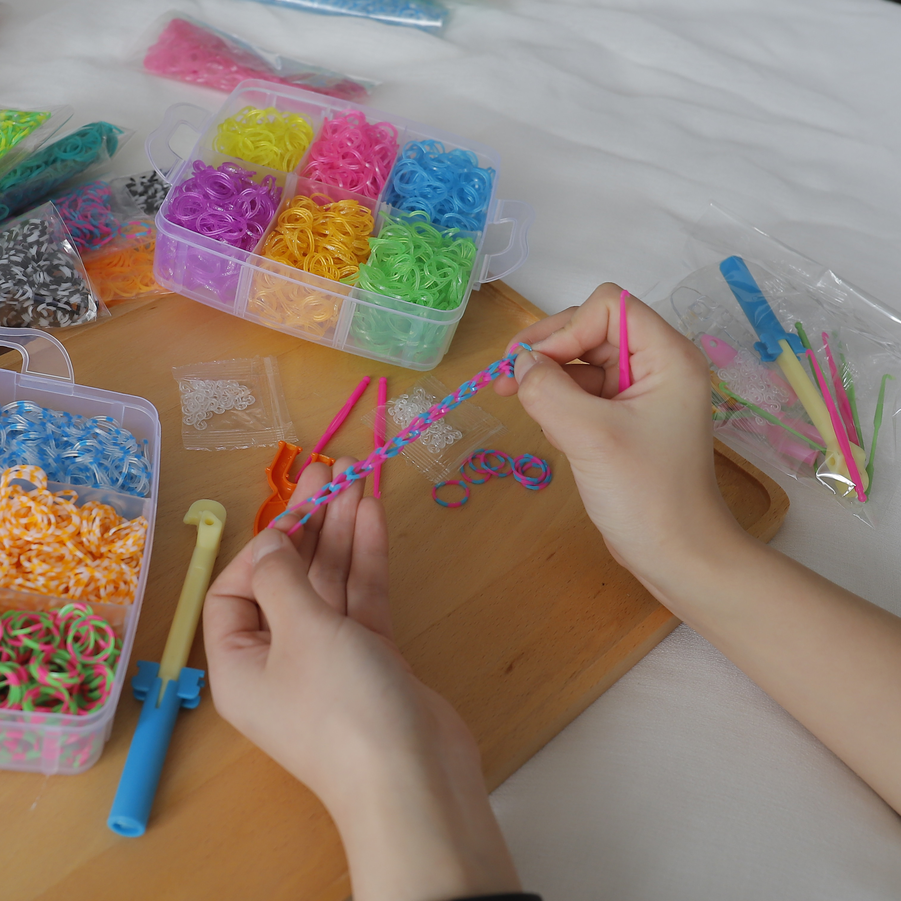 1800pc DIY Toys Rubber Loom Bands Set Kid DIY Bracelet Silicone Rubber Bands Elastic Rainbow Weave Loom Bands Toy Children Goods