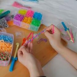 1800 шт. DIY игрушки резиновые ткацкий станок полосы Набор Дети DIY браслет силиконвые резинки эластичный Радуга ткань ткацкий станок полосы