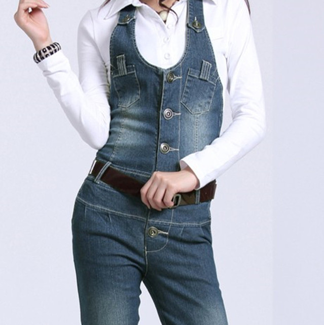 Free Shipping Rompers Womens Jumpsuit 2016 Fashion Overalls Jeans Female Playsuit ol Straight Trousers Plus Size XL Cotton Pants