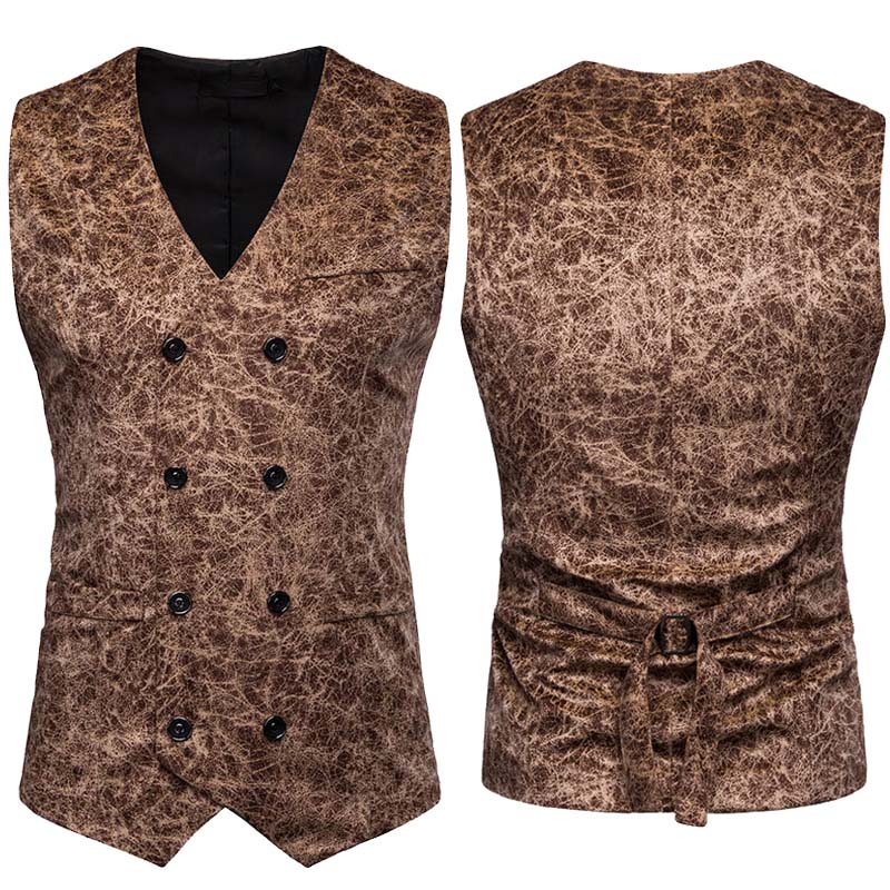 Vintage Double Breasted Leopard Print Vest Suit Waistcoat Men's Notched Cut V-Neck Sleeveless Top Formal Blazer Vest For Man