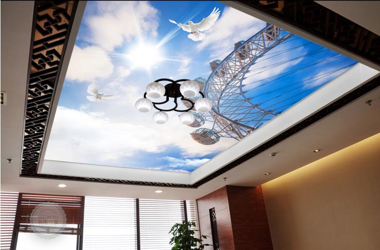 3d ceiling murals custom wallpaper Sky Ferris wheel 3d ceiling wall papers home decor living room ceiling wall paper custom ceiling wallpaper blue sky and white clouds murals for the living room apartment ceiling background wall vinyl wallpaper