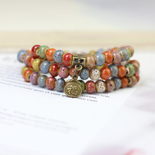 Pop Ethnic Flower Ceramic Beads Multi-layer Bracelets Natural Stone Charm Handmade Accessories Porcelain Bangles Jewelry