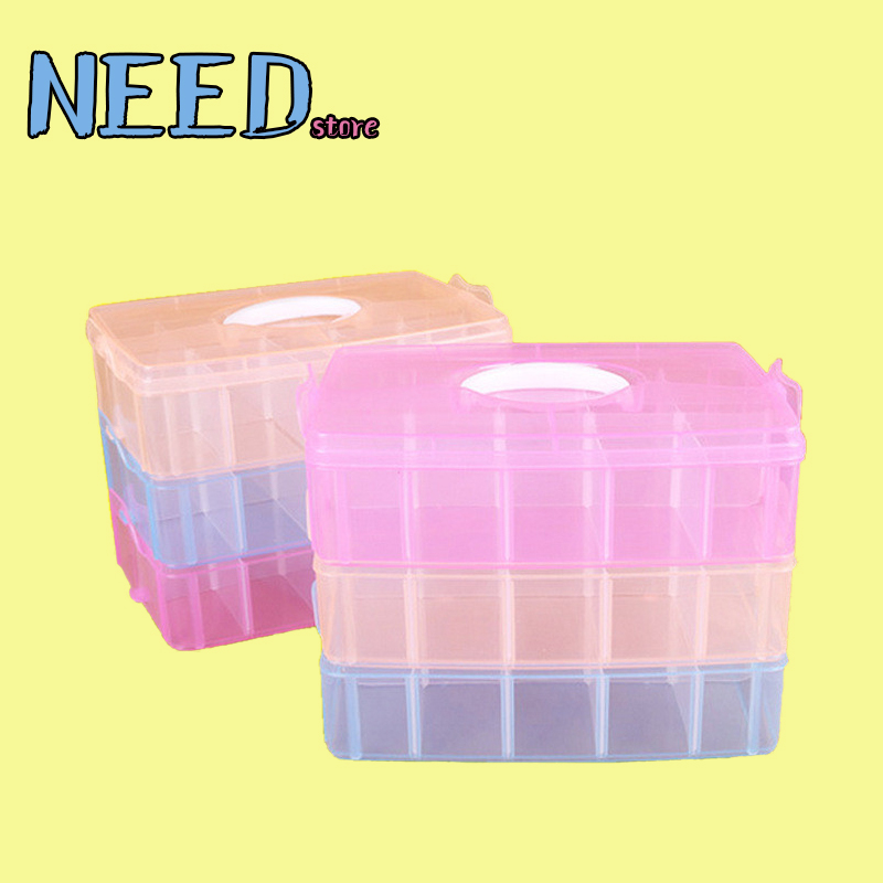 3 Layers Large DIY Plastic Storage Boxs Bins Organizer Makeup Storage Organizer Cosmetics Sundries Jewelry Portable Rangement