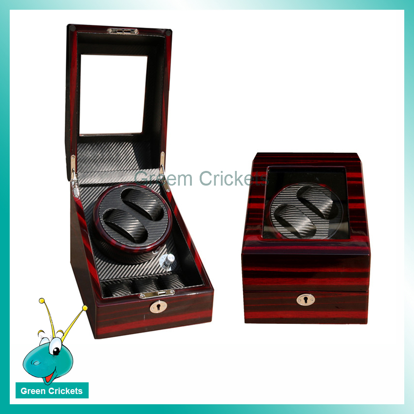 New Arrival Grain Paiting High Light Carbon Fibre Inside 5 Mode Automatic Wooden <font><b>Watch</b></font> <font><b>Winder</b></font> image