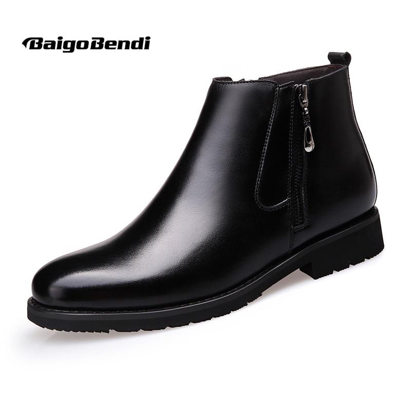 US6-10 Modne usnjene moške koničaste Toe Oxford zadrgo Casual čevlji Chukkas topla krzna zimske čevlje