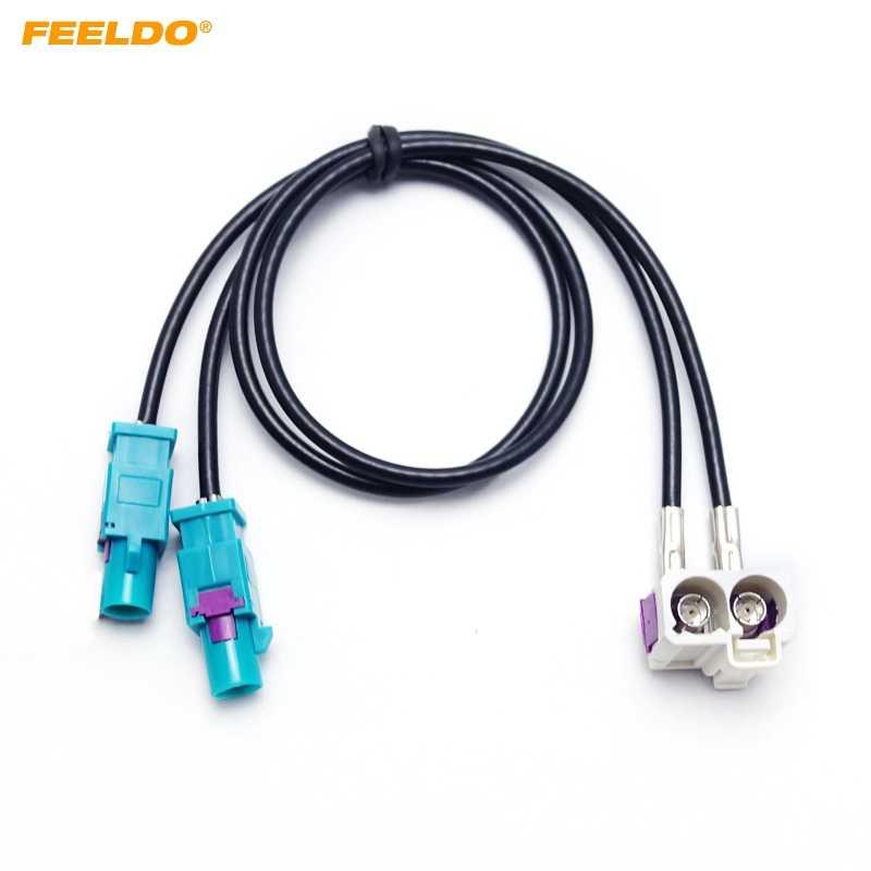 FEELDO OEM 2 الإناث إلى 2 ذكر فقرا II راديو هوائي محول لشركة فولكس فاجن جيتا/جولف MK5/MK6 /باسات B6/B7/تيغوان RNS510 (MFD3) /RCD510/310