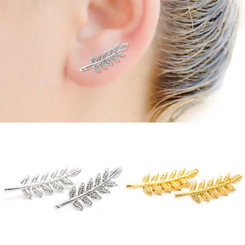 New Vintage Gold Sliver Black Plate Leaf Stud Earrings For Women Fashion Bohemian Small Ear Brincos Bijoux WD235
